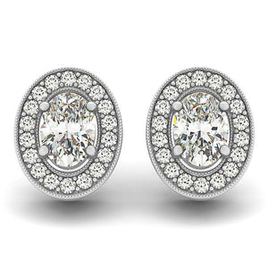 Oval Cut Halo Earrings With Artisan Detail Basket