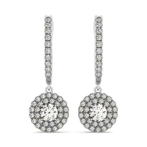 Round Cut Double Tier Halo Dangle Earrings