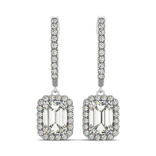 Load image into Gallery viewer, Emerald Cut Halo Dangle Hoop Earrings