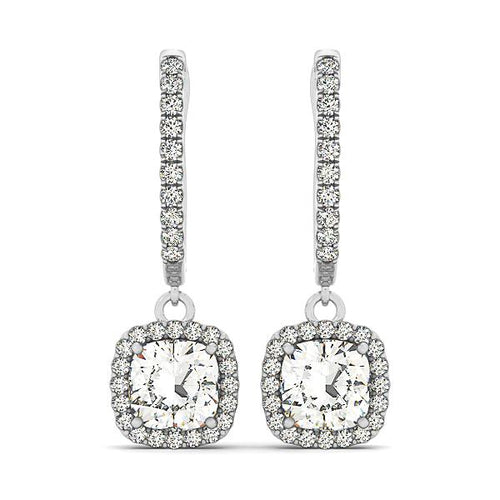 Cushion Cut Halo Dangle Hoop Earrings