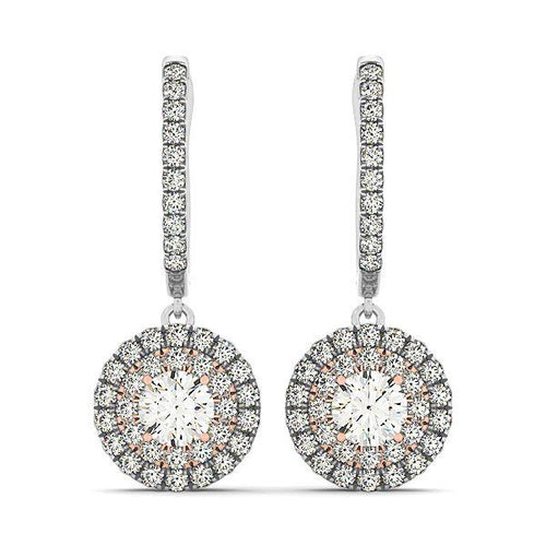 1.64CT Two-Tone Round Cut Halo Dangle Hoop Earrings