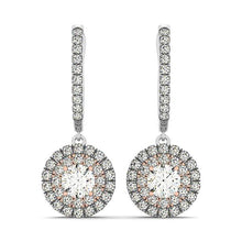 Load image into Gallery viewer, Two-Tone Round Cut Halo Dangle Hoop Earrings