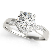Load image into Gallery viewer, 4-Prong Round Cut Engagement Ring with Channel Accents