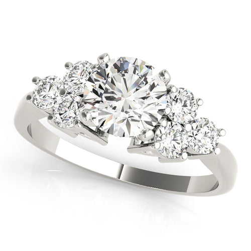Round Cut Cathedral Style Engagement Ring with Brilliant Accents