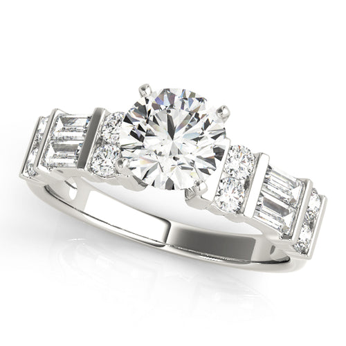 4-Prong Round Cut Solitaire Engagement Ring with Baguette Accents