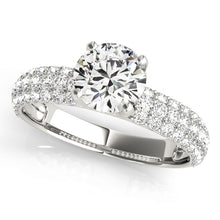 Load image into Gallery viewer, Four Prong Round Cut Accented Solitaire Engagement Ring