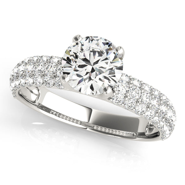 Four Prong Round Cut Accented Solitaire Engagement Ring