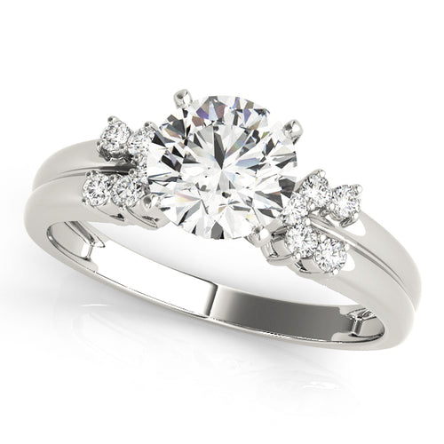 Round Cut Solitaire Engagement Ring with Cluster Style Accents