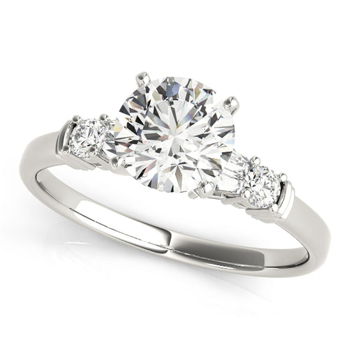 Round Cut Prong Style Engagement Ring with Baguette Accents