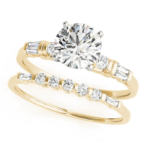 Classic 4-Prong Round Cut Engagement Ring with Tapered Baguettes