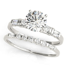 Load image into Gallery viewer, Classic 4-Prong Round Cut Engagement Ring with Tapered Baguettes