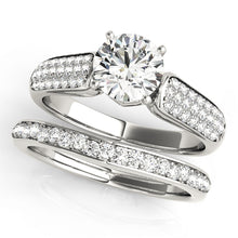 Load image into Gallery viewer, Triple Row Pave Accented Round Cut Engagement Ring