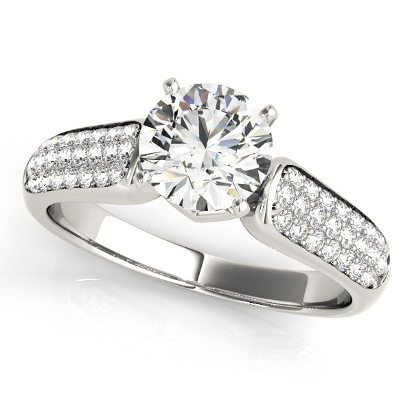 Triple Row Pave Accented Round Cut Engagement Ring