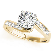 Load image into Gallery viewer, Round Cut Tension Set Engagement Ring with Tapering Channel Accents