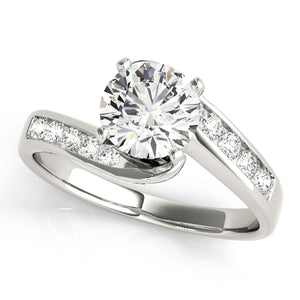 Round Cut Tension Set Engagement Ring with Tapering Channel Accents