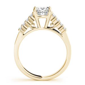 Princess Cut Solitaire With Pave Accents