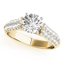 Load image into Gallery viewer, Round Cut Cathedral Style Engagement Ring with Pave Accents