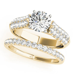 Round Cut Cathedral Style Engagement Ring with Pave Accents