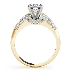 Round Cut Solitaire with Contoured Pave Accents
