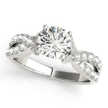 Load image into Gallery viewer, Cathedral Style Engagement Ring with Accented Twisted Setting