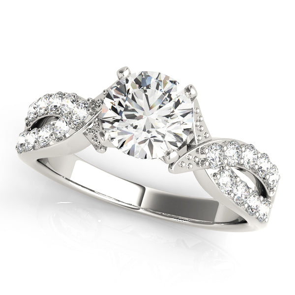 Cathedral Style Engagement Ring with Accented Twisted Setting