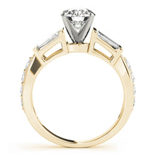 Load image into Gallery viewer, Round Cut Engagement Ring with Baguette Accents