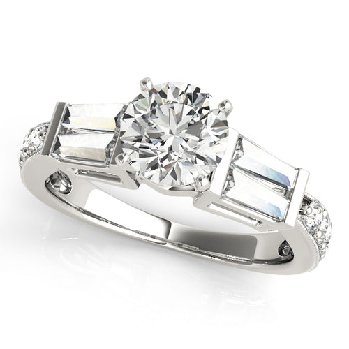 Round Cut Engagement Ring with Baguette Accents