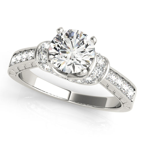 Round Cut Engagement Ring with Crisscross Shimmering Accents