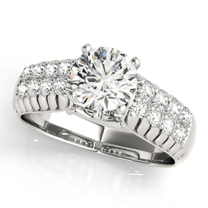 Euro Style Round Cut Engagement Ring with Pave and Filigree