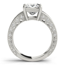 Load image into Gallery viewer, Princess Cut Engagement Ring with Pave Style Channel Accents