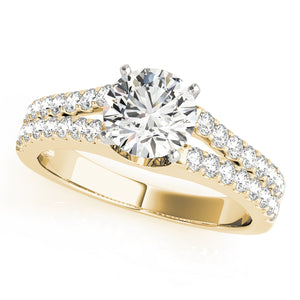 Round Cut Engagement Ring with Scalloped Split Shank