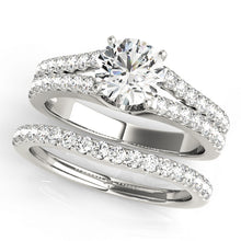 Load image into Gallery viewer, Round Cut Engagement Ring with Scalloped Split Shank