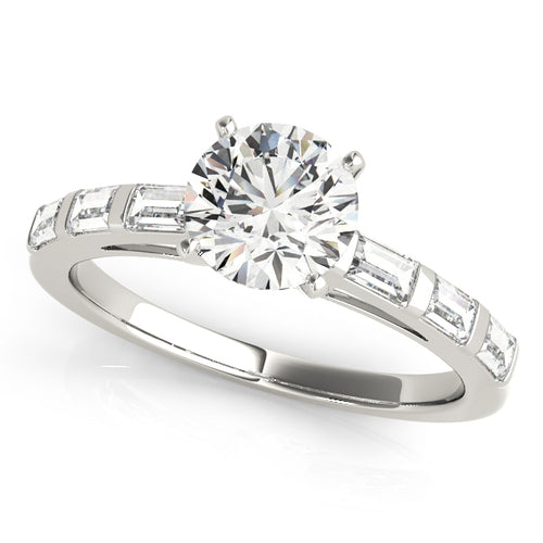 Cathedral Style Round Cut Engagement Ring with Baguette Accents
