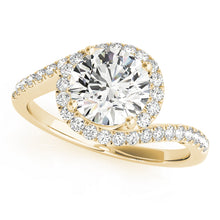 Load image into Gallery viewer, Split Shank Round Cut Halo Engagement Ring with Side Accents