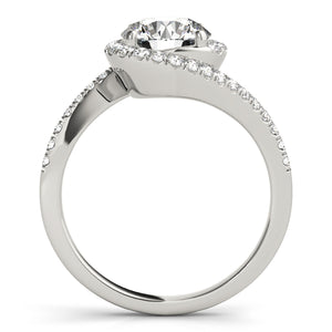 Split Shank Round Cut Halo Engagement Ring with Side Accents