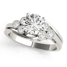 Load image into Gallery viewer, 4-Prong Round Cut Engagement Ring with Bezel Set Accents