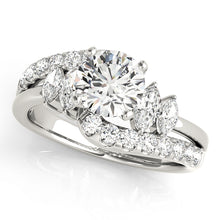 Load image into Gallery viewer, Scalloped Style Round Cut Engagement Ring with Marquise Accents Stones