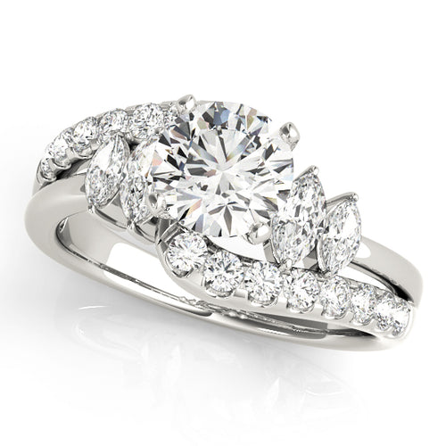 Scalloped Style Round Cut Engagement Ring with Marquise Accents Stones