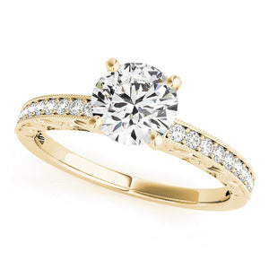 Round Cut Antique Inspired Solitaire Ring with Accents