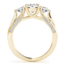 Load image into Gallery viewer, Round Cut Three-Stone Engagement Ring with Tapered Accents