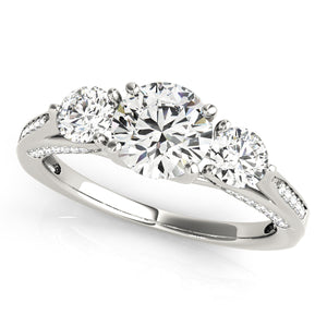 Round Cut Three-Stone Engagement Ring with Tapered Accents