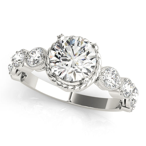 Round Cut Engagement Ring with Elegant Crown Setting