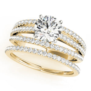 Triple Row Pave Engagement Ring