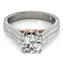 Load image into Gallery viewer, Cathedral Style Round Cut Engagement Ring with Pave Accents