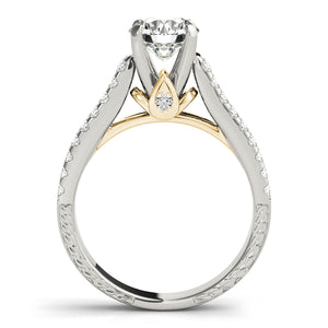 Cathedral Style Round Cut Engagement Ring with Pave Accents
