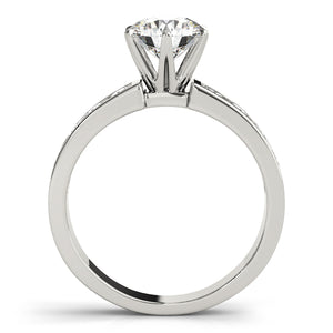 Six Prong Accented Solitaire Engagement Ring