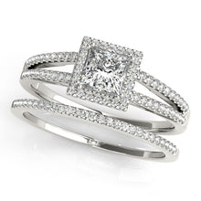 Load image into Gallery viewer, Princess Cut Halo Engagement Ring with Split Shank