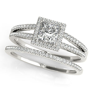 Princess Cut Halo Engagement Ring with Split Shank