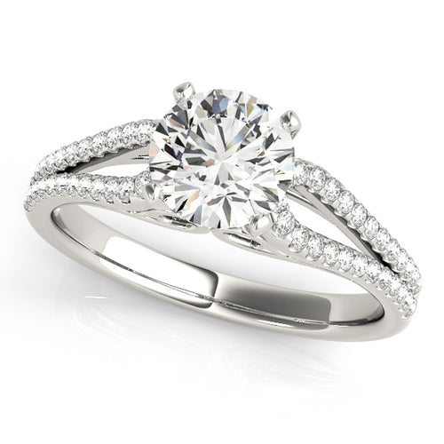 Cathedral Style Round Cut Solitaire with Looped Accents