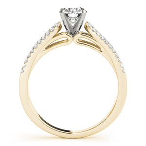 Cathedral Style Round Cut Engagement ring with Triple Row Pave Setting